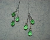 Lime Green Trio on Sterling Ear Threads-FREE SHIPPING To U.S.- Threader Earrings