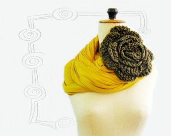 Mustard Yellow Infinity Circle Loop Scarf Jersey Cowl with huge Flower Pin