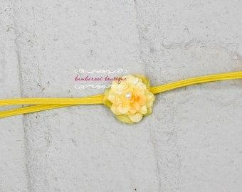 yellow small flower headband, baby headband, petite flower headband, newborn photography prop