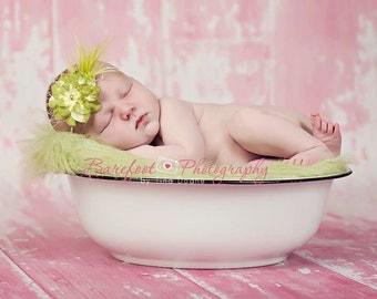 feather newborn headband, small flower headband, feather baby headband, photography props, green