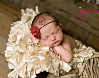 Newborn Headband, Baby Headband, Crimson Red Small FLower Headband