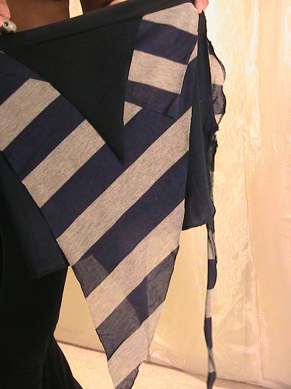 Tribal Belly dance ATS Seaweed skirt, panel skirt , hip apron in Blue, Gray and Black stripes SM-XS