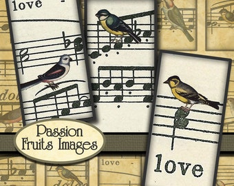 Antique Bird Images on Sheet Music Digital Collage Sheet- 1in x 2in domino tile images-- Instant Download