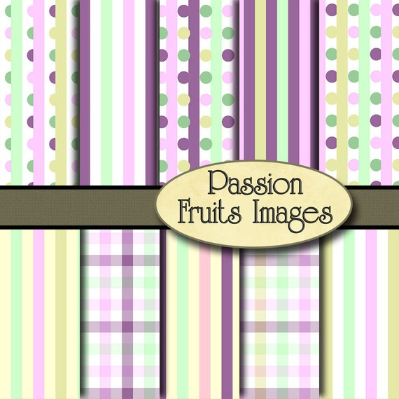 Pastel Plaids and Polka Dots- 10 Piece Digital Paper Pack-- Instant Download