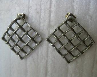 Vintage Square Metal Minimalist Stud Earrings