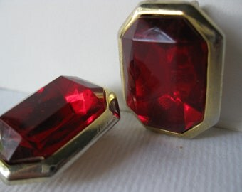Glamour earrings/ Red Rhinestones/ Clip Earrings/Christmas earrings/ Big earrings