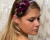 Purple and Green Floral Plaid Headband