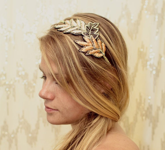 Embroidered Golden Leaf Rustic Headband - southern, southwest, country, autumn, fall