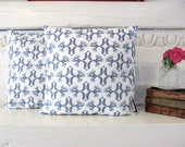 Navy Blue and Pure White. Vintage-style Folk Art Design. Cushions. 18X18 inches.