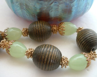 Vintage Turned Wood Bead Necklace with Seafoam Green Glass Beads Filligree Cap Beads Beautiful