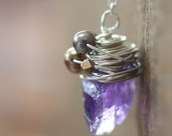 Amethyst Necklace, Wire Wrap, Freshwater Pearl, Birthstone Necklace
