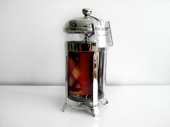 MELIOR RHODIE rhodium plated 8 cup French Press Coffee lovers dream MINT in box