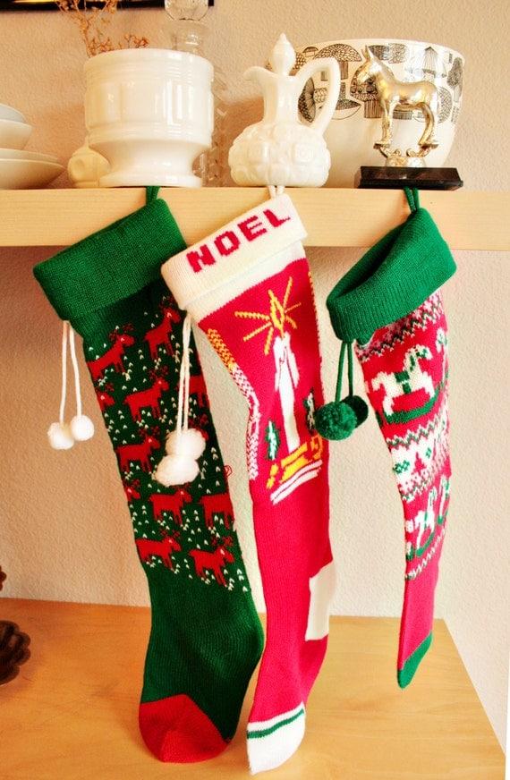 Vintage Christmas Sweater Stockings
