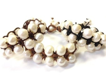 SALE - Freshwater Pearl and Leather Bracelet - RumPai
