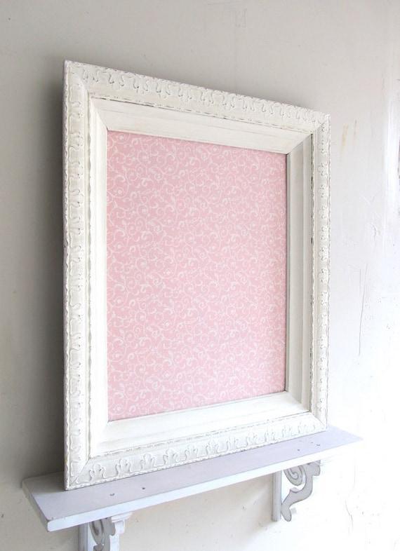MAGNET BOARD Shabby Chic Nursery Decor Memory Board Pink Ivory Girls Vintage Room Ornate Frame Wall Decor Memo Board Wedding Decoration