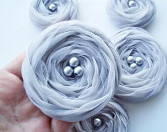 Silver Grey Chiffon Roses Handmade Appliques Embellishments(5 pcs)