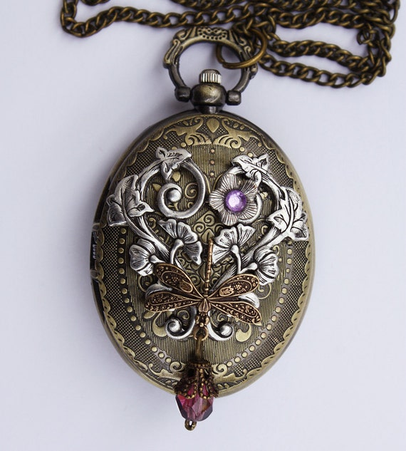 Cute and Elegant Victorian gothic necklace with dragonfly pocket watch pendant