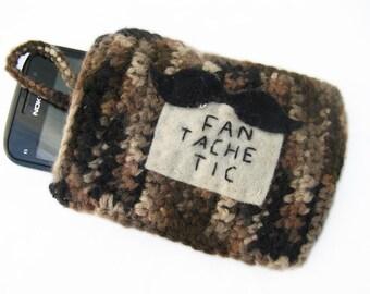 BROWN Crochet Cell Phone CASE / COZY - Fantachetic - with cute Moustache