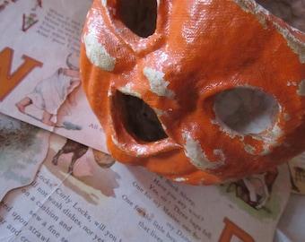 Antique Halloween Jack-O-Lantern Pumpkin, Pulp Paper Mache, Trick or Treat Candy Container, 1930's Choir Boy, Vintage Halloween