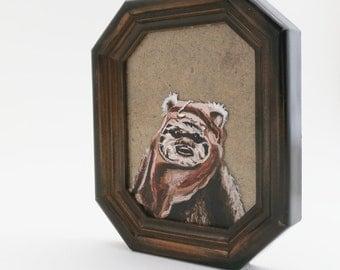 Ewok Cameo Portrait miniature, original painting framed