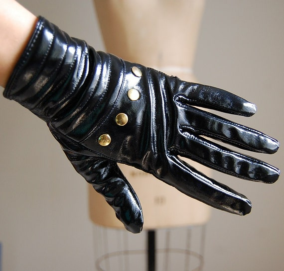 vintage STUDDED glossy black riding gloves