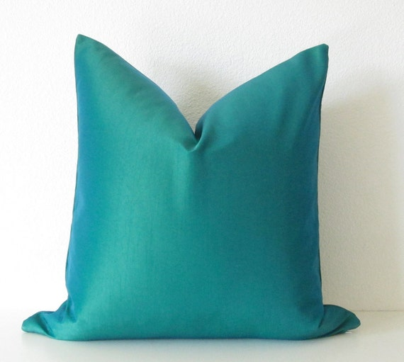 Decorative pillow cover 18x18 Peacock Teal by chicdecorpillows