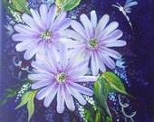 acrylic box canvas floral spray