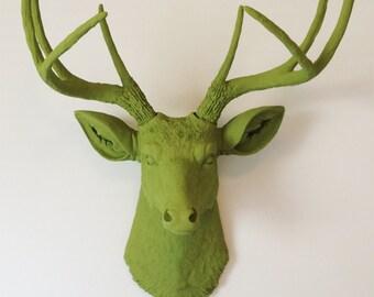 Olive Green Deer Head Wall Mount