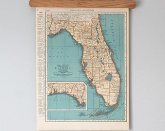 1930s Antique State Map of Florida and Connecticut