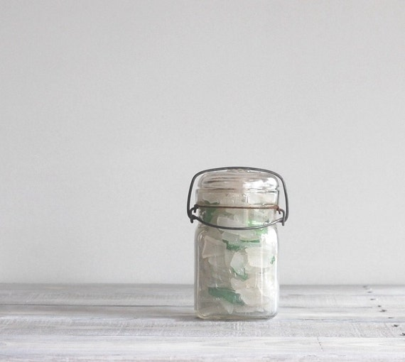 Vintage Canning Jar with Beach Glass Collection / White and Green