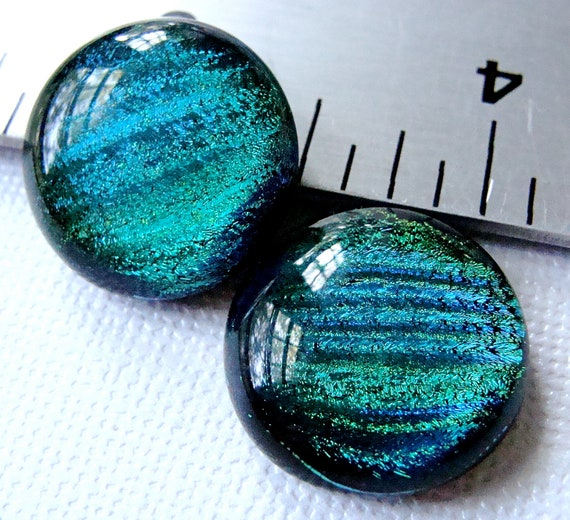 Dichroic Glass Cabochons 19 mm Green Teal Set of 2