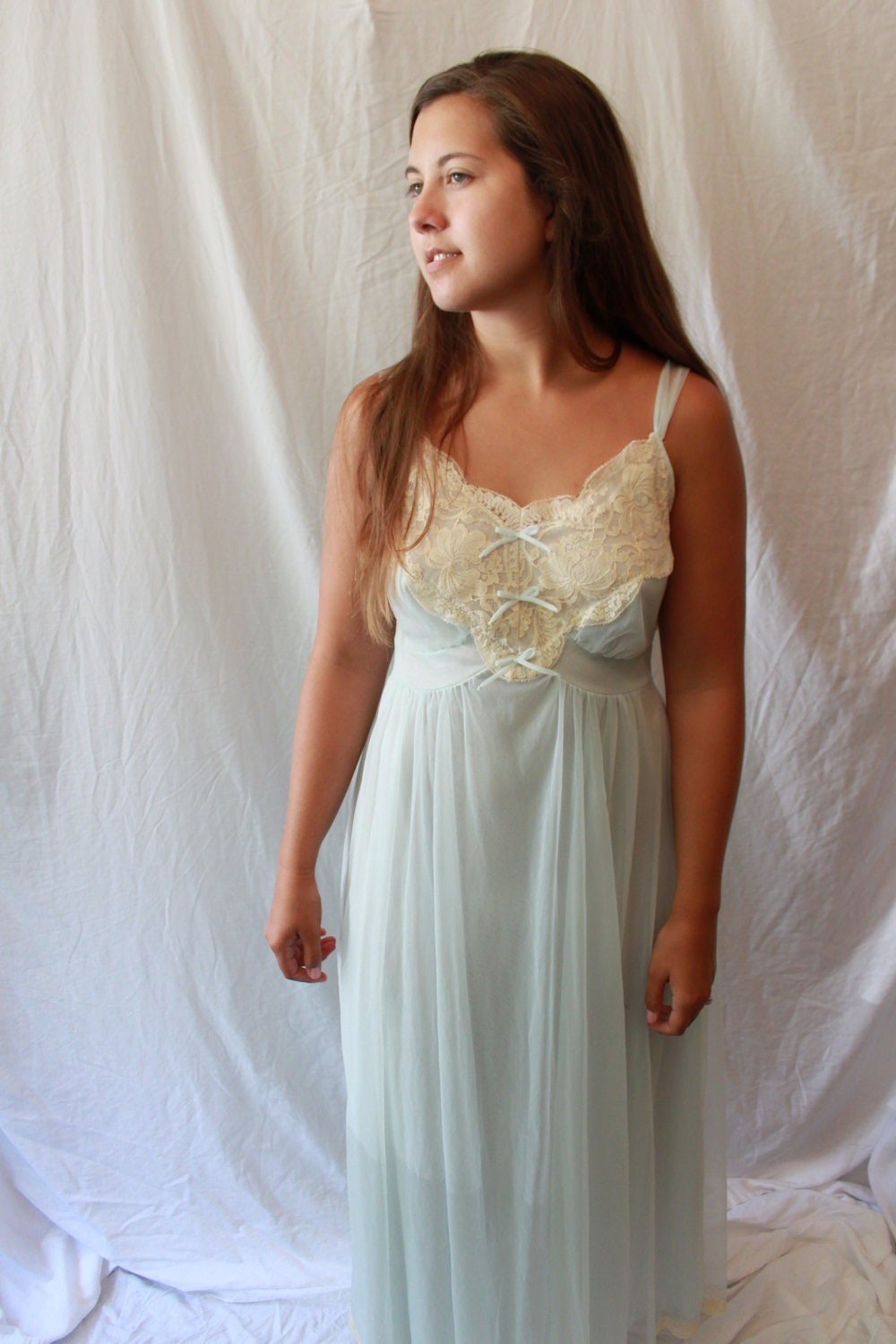 Vintage Lace Nightgown My Gotham Lingerie Sheer Nighty-2892