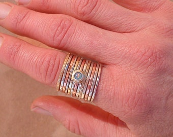 Large Stack Mixed Metal Opal Ring