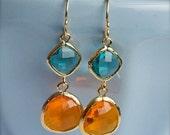 Gold Gemstone Earrings-Gold Encased Turquoise and Tangerine Glass-Bridesmaid Earrings-Gift for Her