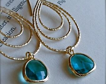 Bali-Golden Chandelier Earrings with Emerald Blue Glass