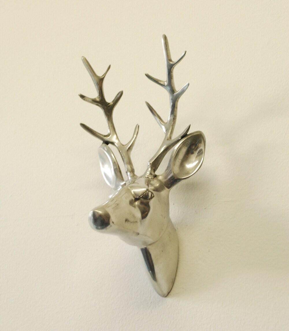 Silver Metal Deer Head Sculpture Wall Hanging