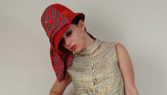 Vintage 1960s Hat / 60s Red Cloche / Plaid Scarf