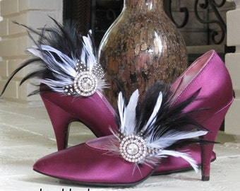 DALIA -- Wedding Bride Bridal Bridesmaids Prom Accessories Feather Shoe Clips Black & White with Rhinestones plus Customizable in ANY Color