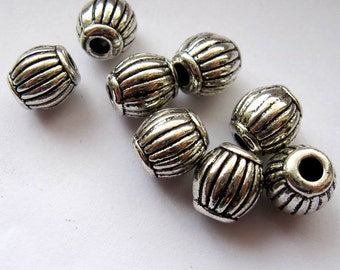 Antique Silver, Tibetan Style, 10mm Corrugated Barrel, Metal Bead, 20, Large Hole