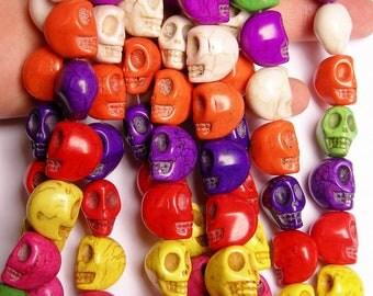Howlite skull - multicolor  - 18mm  -1 full strand - 24 beads