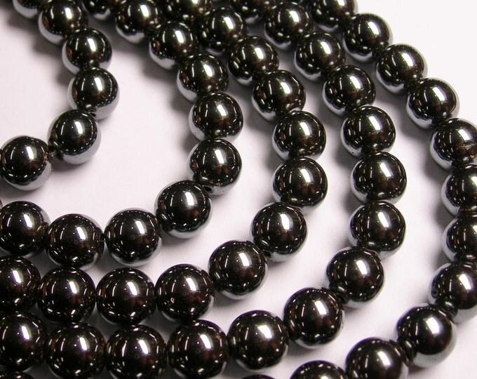 Hematite - 10 mm  round beads -1 full strand - 43 beads - RFG1053