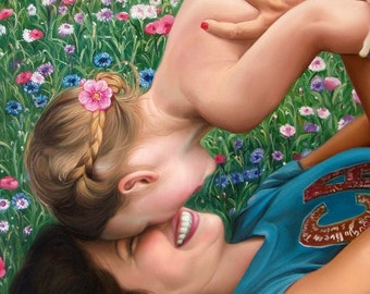 Commissioned portrait from photo, large painting on canvas. 100% money-back guarantee.