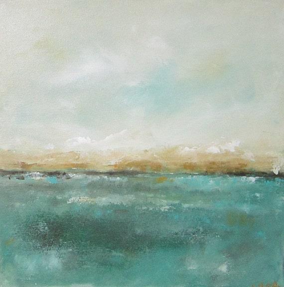 Abstract Seascape Ocean Original Art- Mendocino View 20 x 20