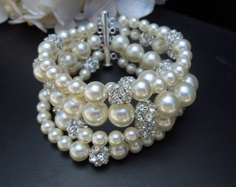 bridal pearl and rhinestone Bracelet, Statement Bridal Bracelet, Wedding Rhinestone Bracelet, swarovski pearl bracelet, cuff, Cheyenne