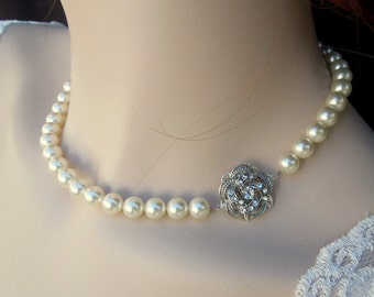 bridal pearl and crystal necklace pearl necklace Statement Bridal necklace Wedding Rhinestone necklace swarovski bridal necklace  ROSELANI