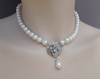 Pearl Necklace,Bridal Necklace, Ivory or White Pearls,Pearl Bridal Necklace,Pearl Rhinestone Necklace,Statement Bridal Necklace,ROSELANI