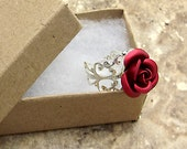 Red Rose Ring Adjustable Victorian Silver Filigree in Gift Box