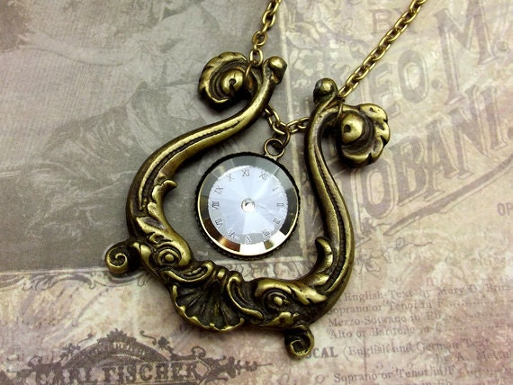 Drawer Pull Clock Necklace Antiqued Brass