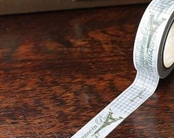 Tape-Washi Tape-Masking Tape-Single Roll-Brown and White Paris Theme