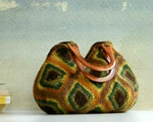 Women's crochet handbag, Fall Fashion Handbag, Crochet Granny Square, Felted Wool Crochet  Shades brown green beige mustard